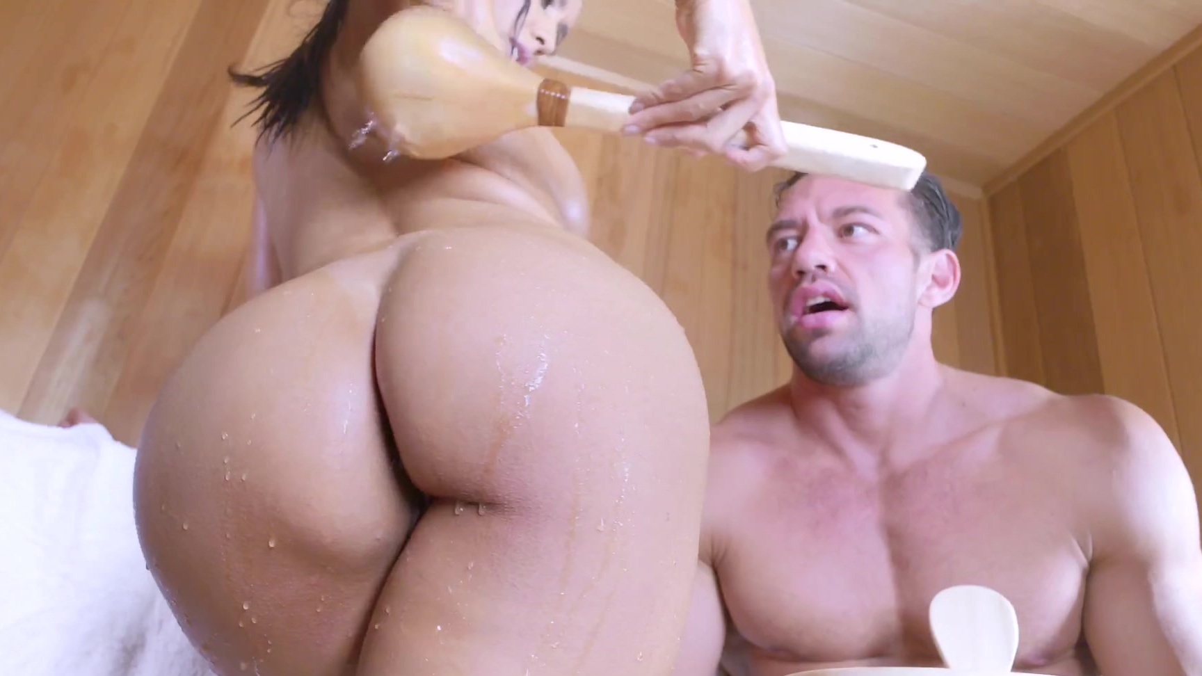 anal fuck & creampie at sauna with isis love (isis love, johnny