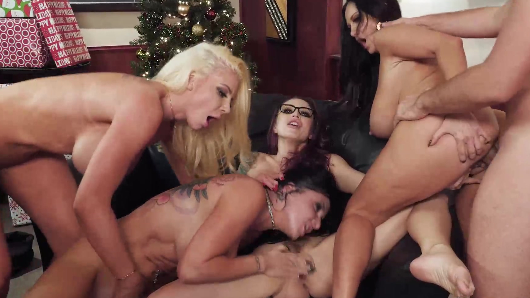 Ava Addams Christmas.Christmas Party Turns Into Messy Office Fivesome Orgy