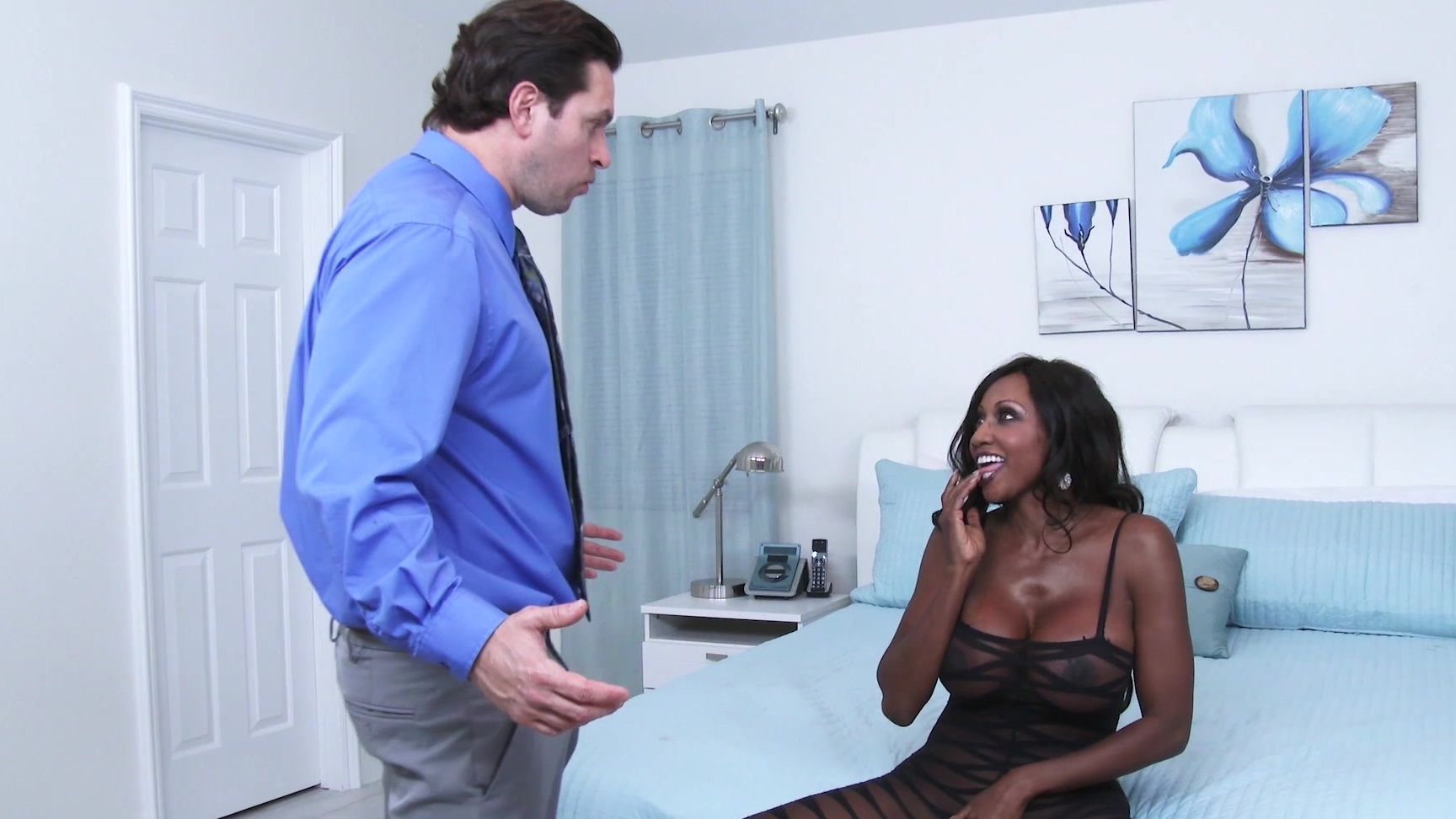 Ebony Step Mom Fucks White Son