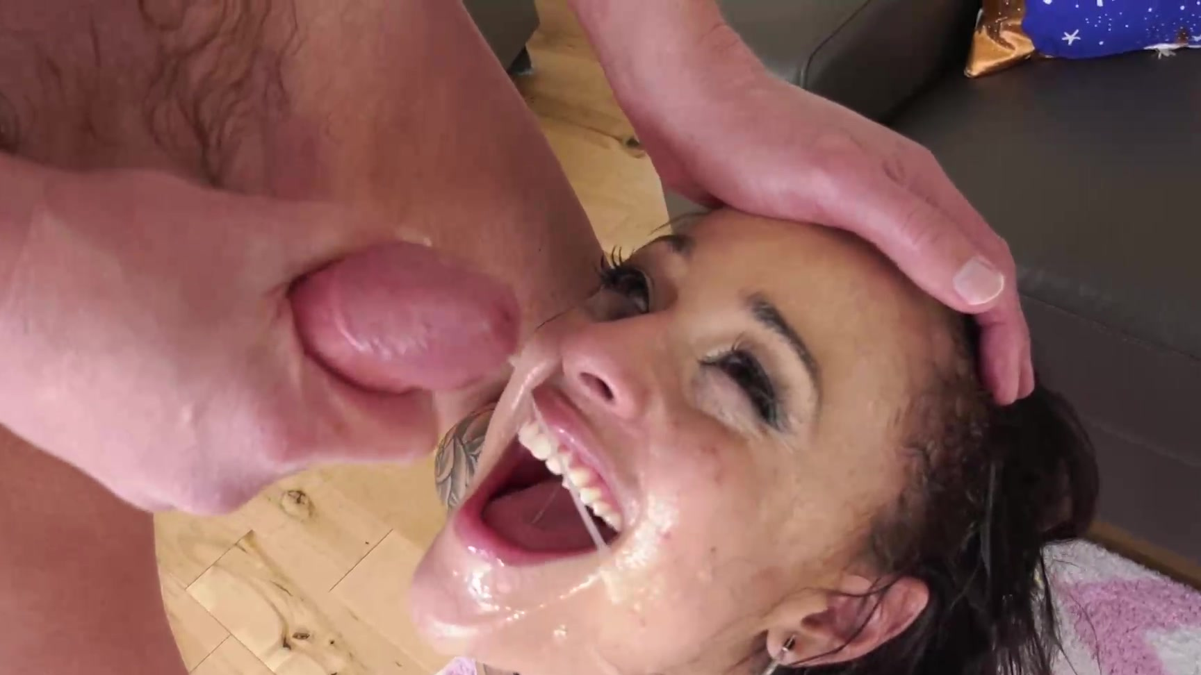 Face fucked by huge cock