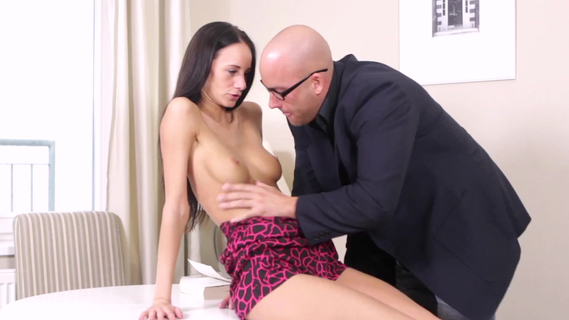 veronika sucked & shoved her tricky old teacher's dick inside her